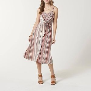 New Stripe Button Front Dress